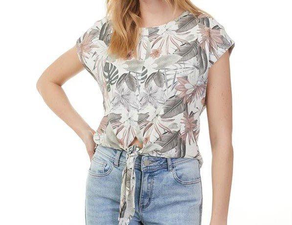 Charlie B Tropical Top With Front Tie