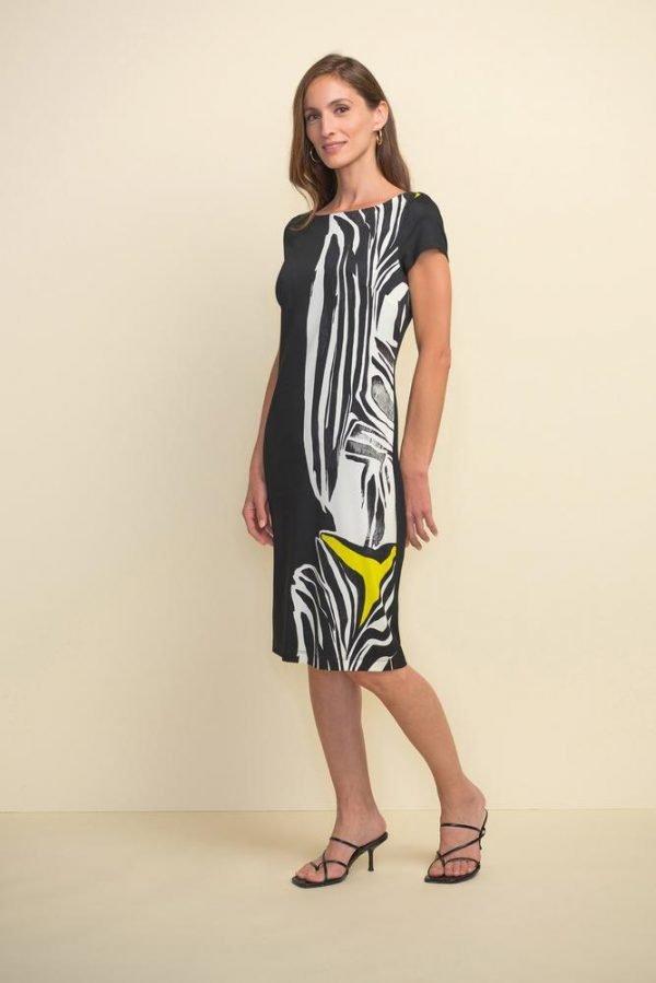 Joseph Ribcoff Animal Print Short Sleeve Dress