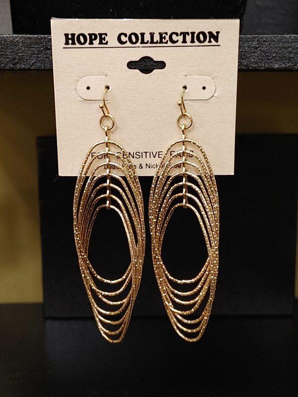 Long Gold Oval Earrings